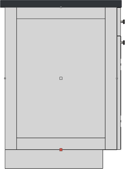 Cross Section/Elevation view looking at a panel placed manually on the left side of a base cabinet