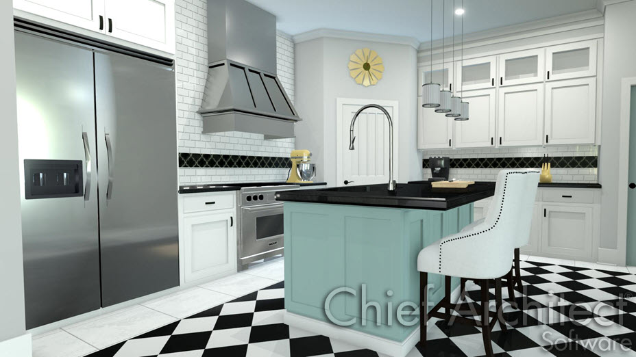 Kitchen with a decorate floor, an island and white subway tile backsplash on walls above base cabinets