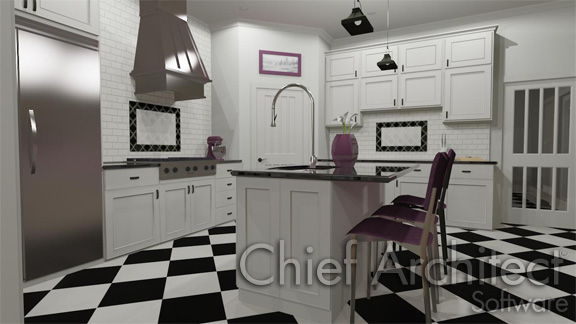 interior kitchen with checkered floor kitchen island and white subway tile backsplash on walls above base cabinets