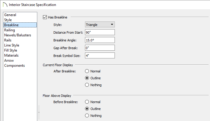 Adjust breakline properties on the Breakline panel of the Staircase Specification dialog