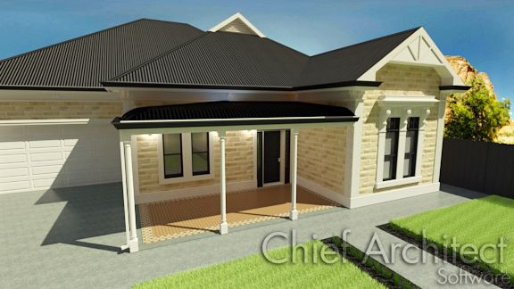 Chief Architect and Home Designer are able to create a bullnose on your verandah roof easily using the software's manual roof tools.