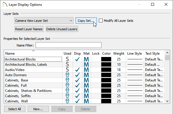 Click on the Copy Set button to create a new layer set
