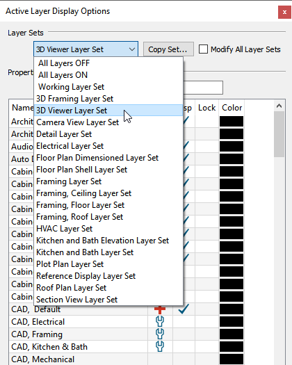 Selecting the 3D Viewer Layer Set from the layer set drop-down in the ALDO