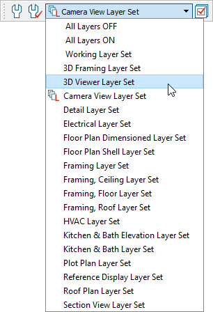 Select the 3D Viewer Set in the Active Layer Set Control drop-down