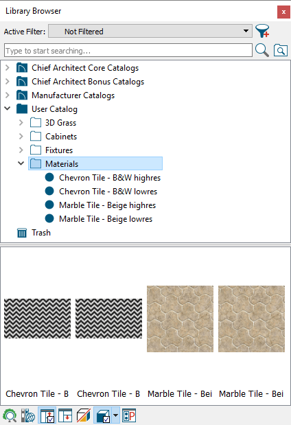 Low resolution and high resolution materials