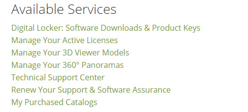 Image of the available services options in a Chief Architect online account.