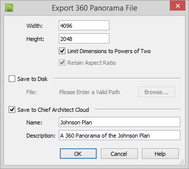 Export 360 Panorama File dialog