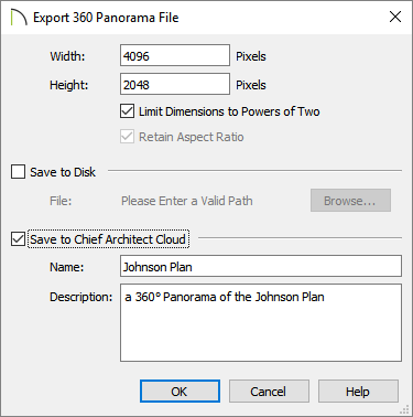 Export 360 Panorama File dialog where width, height, and save options are listed