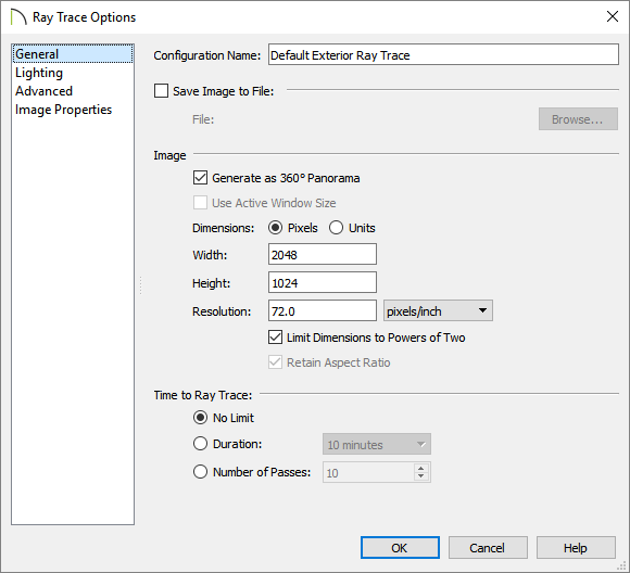 Generate as 360° Panorama box checked on the General panel of the Ray Trace Options dialog