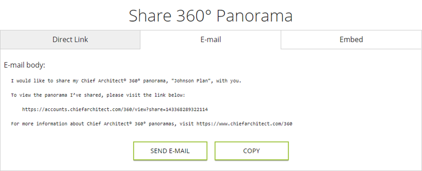 E-mail tab when sharing a 360° Panorama