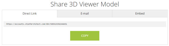 Direct link tab of the share 3D model dialog