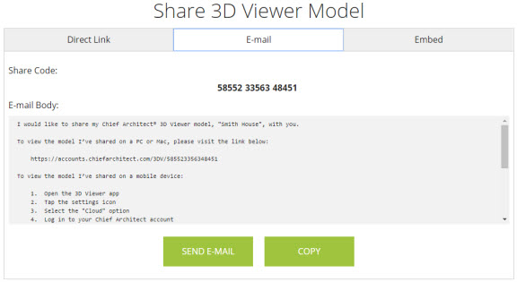 E-mail tab of the share 3D viewer model dialog