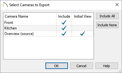 Adjust what cameras will be exported, along with the active view when the model is viewed