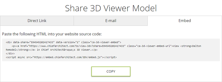 Embed tab selected for sharing a 3D Viewer model file
