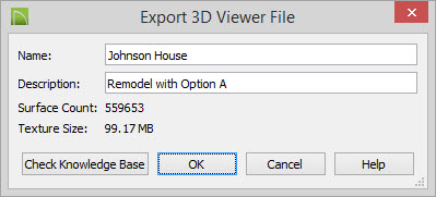 Export 3D Viewer File dialog