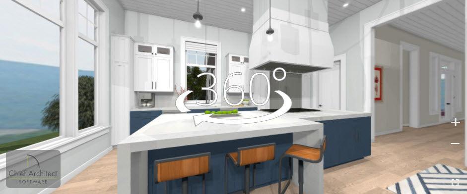 A 360° view of the Coastal Retreat Kitchen.