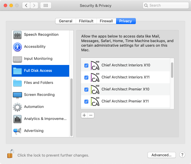 Ensure that Chief Architect programs have Full Disk Access in the System Preferences