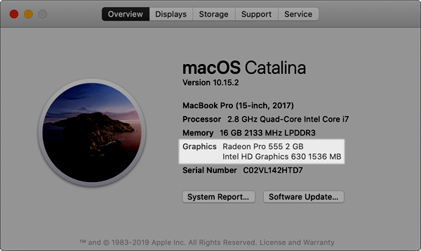 Graphics cards on the overview tab of about this mac