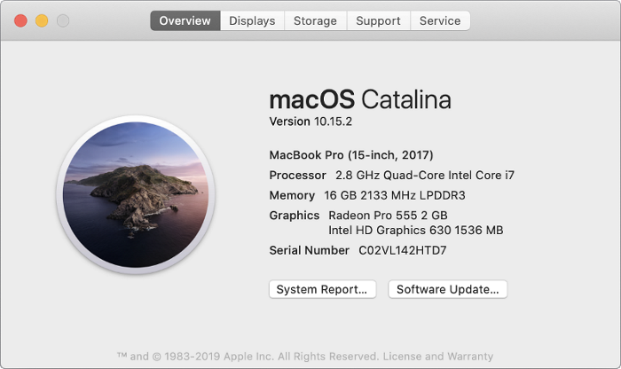 Overview tab in the About This Mac section