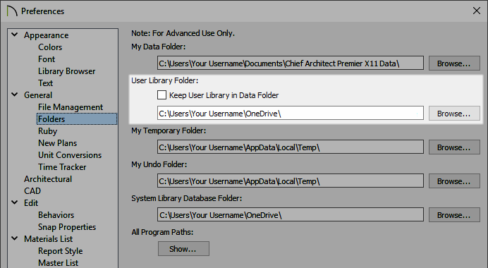 Adjusting the User Library Folder on the Fodlers panel of the Preferences dialog
