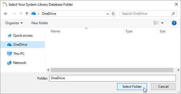 Select Your System Library Database Folder dialog