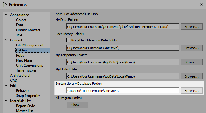 Adjusting the System Library Database Folder on the Folders panel of the Preferences dialog