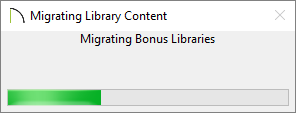 Migrating Library Content dialog