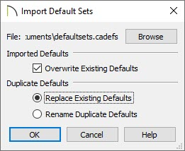Import default sets dialog set to overwrite and replace the existing defaults.