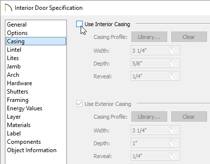 Removing the check from the Use Interior Casing box on the Casing panel of the Interior Door Specification dialog