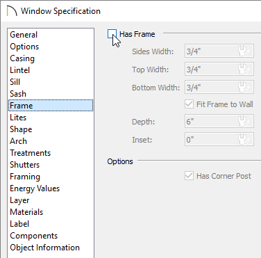 Removing the check from the Has Frame box on the Frame panel of the Window Specification dialog