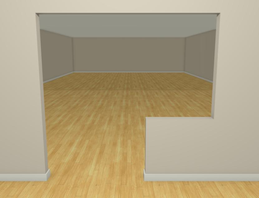 Full camera view looking at a pass-through doorway