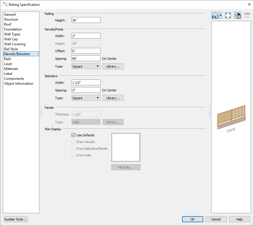 Newels/Balusters panel of the Railing Specification dialog