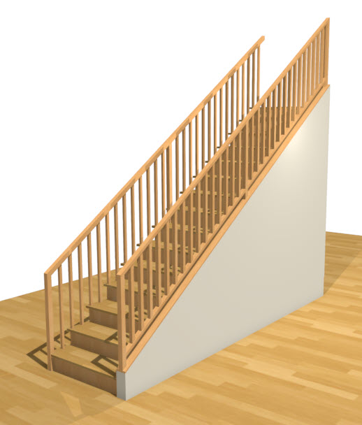 Perspective Full Camera view of a stair section with a rake wall