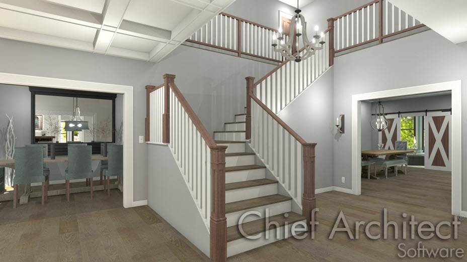 Stair rake walls in an entryway