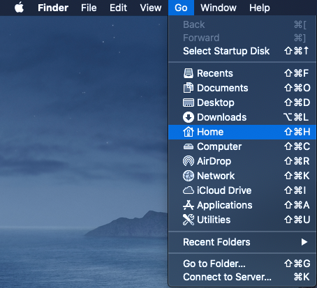 Open Home folder through Finder