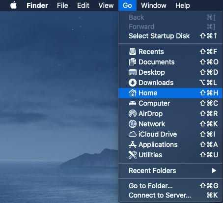 Open Home folder through Finder
