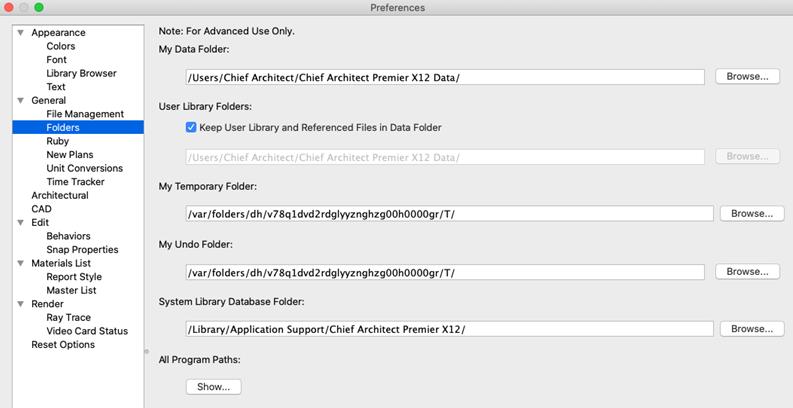 Edit Data Folder path in Preferences