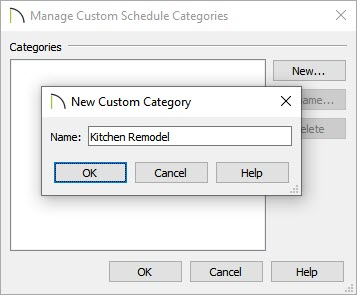 New custom category created called Kitchen Remodel
