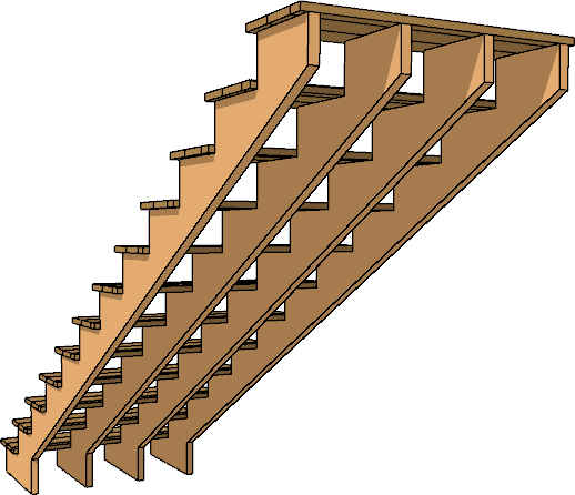 Staircase with four stringers