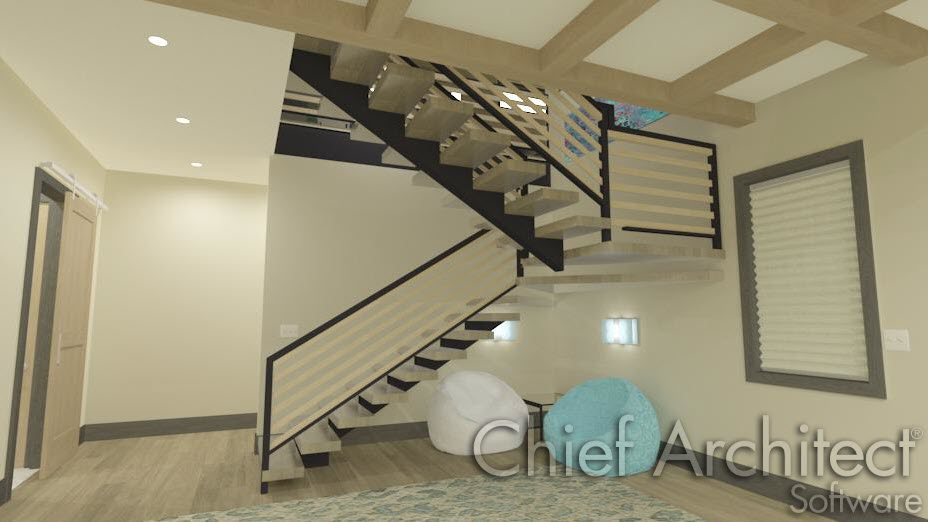 U-shaped stairs with a single middle stringer