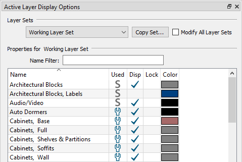 ALDO with the Layer Set Control toggled on