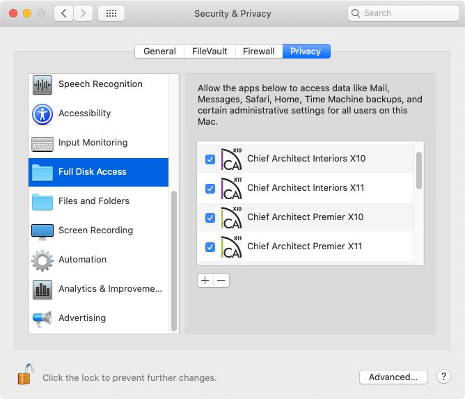 Enabling Full Disk Access for the Chief Architect/Home Designer program