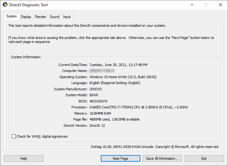System tab of the DirectX Diagnostic Tool