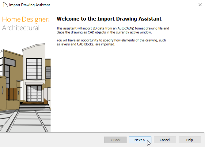 Welcome screen of the Import Drawing Assistant