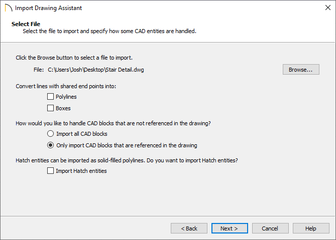 DWG has been selected and is shown on the Select File screen