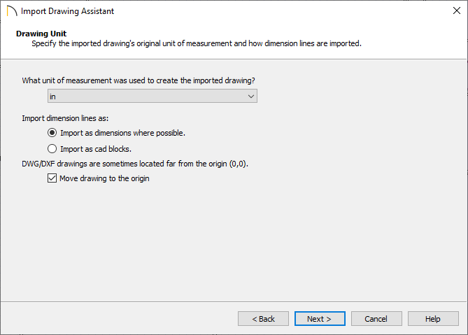 Drawing Unit screen in the Import Drawing Assistant
