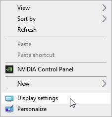 Selecting Display Settings from the contextual menu