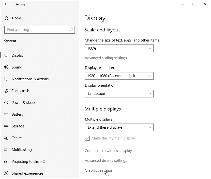Select Graphics settings under the Scale and layout section