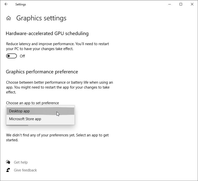 Select Desktop app from the drop-down menu