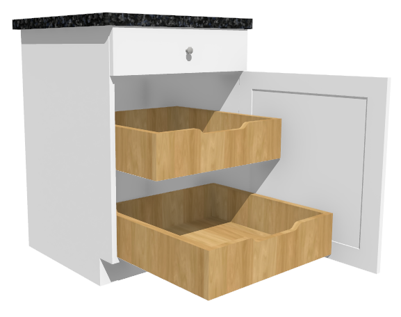 Camera view of a base cabinet with roll-out shelves